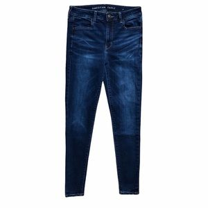 AEO American Eagle Outfitters Hi-Rise Dark Blue Wash Skinny Jean Jeggings Size 8